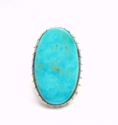 Big Ray Jack, Navajo, Turquoise Sterling Silver Ring Sz12-3/4