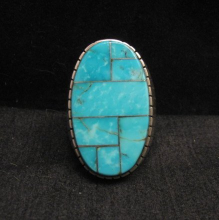 Image 0 of Ray Jack, Navajo, Kingman Turquoise Inlay Sterling Silver Mens Ring Sz13-1/2