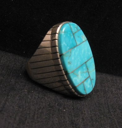 Image 1 of Ray Jack, Navajo, Kingman Turquoise Inlay Sterling Silver Mens Ring Sz13-1/2