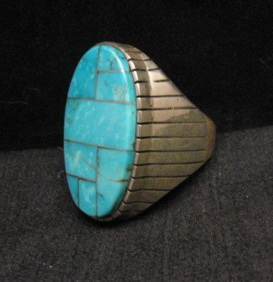 Image 2 of Ray Jack, Navajo, Kingman Turquoise Inlay Sterling Silver Mens Ring Sz13-1/2