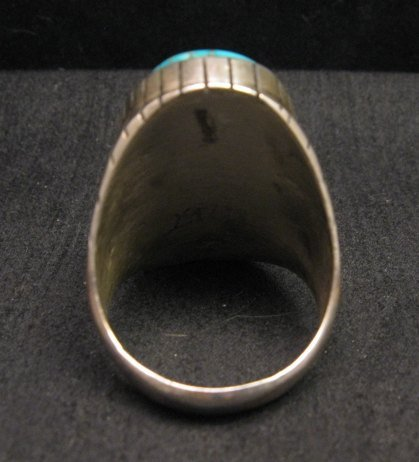 Image 3 of Ray Jack, Navajo, Kingman Turquoise Inlay Sterling Silver Mens Ring Sz13-1/2