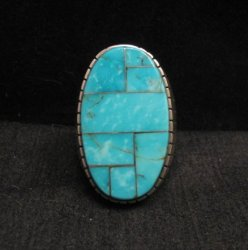 Ray Jack, Navajo, Kingman Turquoise Inlay Sterling Silver Mens Ring Sz13-1/2