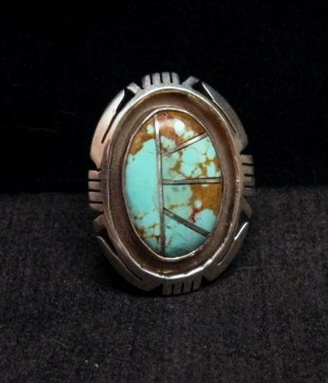 Image 0 of Native American Turquoise Adjustable Ring, Raquel & Leonard Harley, sz6 - 9