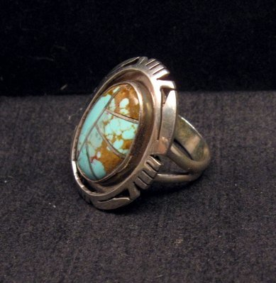 Image 1 of Native American Turquoise Adjustable Ring, Raquel & Leonard Harley, sz6 - 9