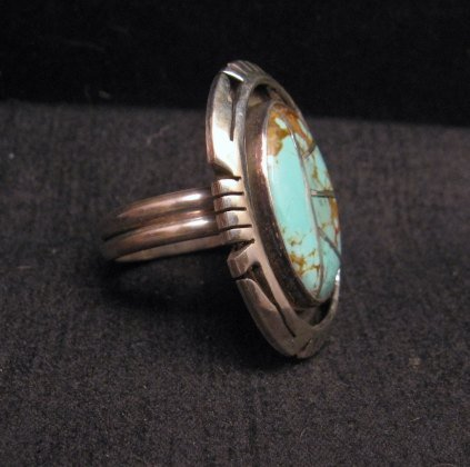 Image 2 of Native American Turquoise Adjustable Ring, Raquel & Leonard Harley, sz6 - 9