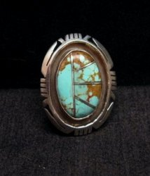 Native American Turquoise Adjustable Ring, Raquel & Leonard Harley, sz6 - 9