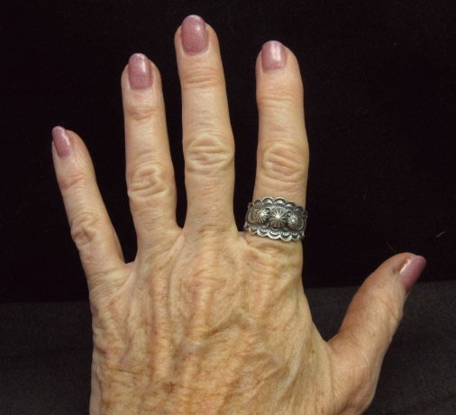 Image 4 of Bennie Ramone ~ Navajo ~ Old Pawn Style Sterling Silver Ring 9-1/4