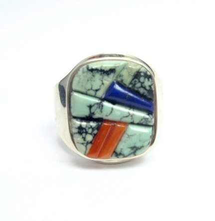 Image 0 of Native American Navajo Multigem Inlay Ring Sz14 by Albert Tapaha