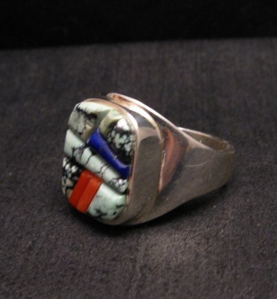 Image 1 of Native American Navajo Multigem Inlay Ring Sz14 by Albert Tapaha