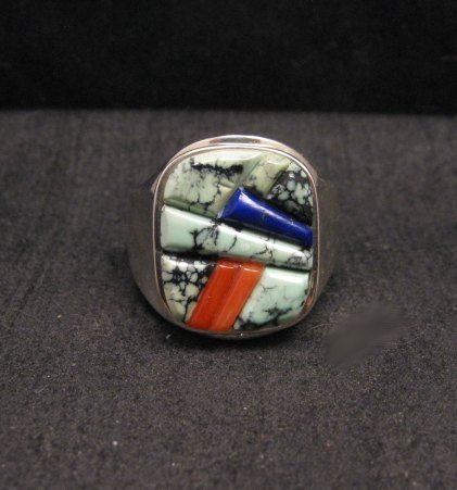 Image 2 of Native American Navajo Multigem Inlay Ring Sz14 by Albert Tapaha
