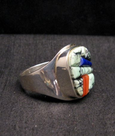 Image 3 of Native American Navajo Multigem Inlay Ring Sz14 by Albert Tapaha