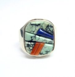 Native American Navajo Multigem Inlay Ring Sz14 by Albert Tapaha