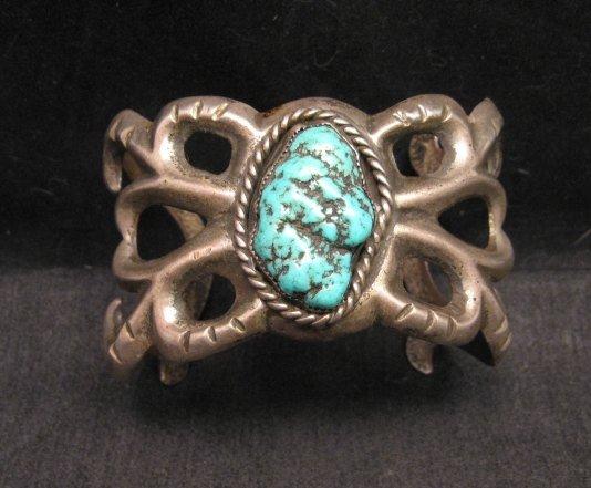 Image 0 of Vintage Navajo Native American Sandcast Silver Sea Foam Turquoise Bracelet