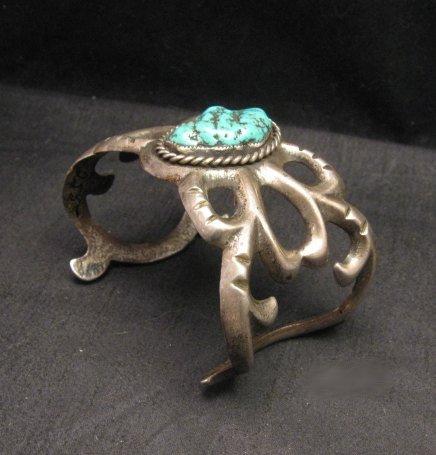 Image 1 of Vintage Navajo Native American Sandcast Silver Sea Foam Turquoise Bracelet