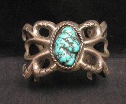 Vintage Navajo Native American Sandcast Silver Turquoise Bracelet