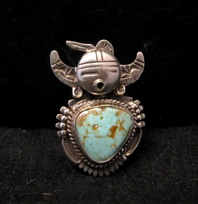 Image 0 of Kachina Navajo Kingman Turquoise Silver Ring Bennie Ration sz7-1/2