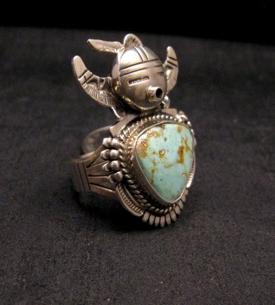 Image 1 of Kachina Navajo Kingman Turquoise Silver Ring Bennie Ration sz7-1/2