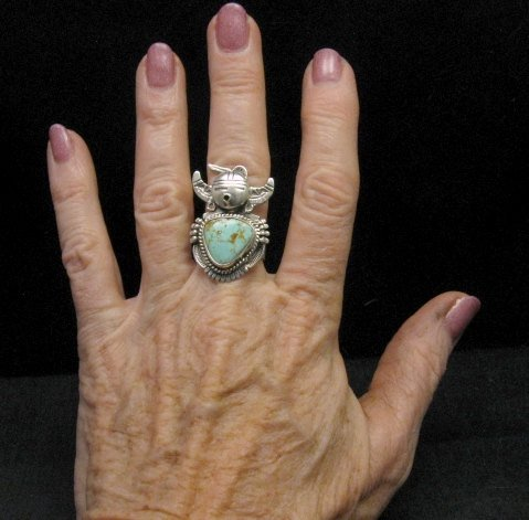 Image 3 of Kachina Navajo Kingman Turquoise Silver Ring Bennie Ration sz7-1/2