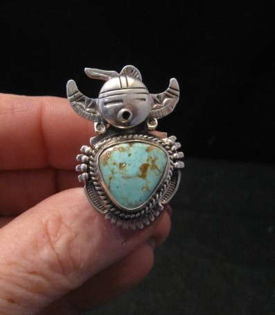 Image 4 of Kachina Navajo Kingman Turquoise Silver Ring Bennie Ration sz7-1/2