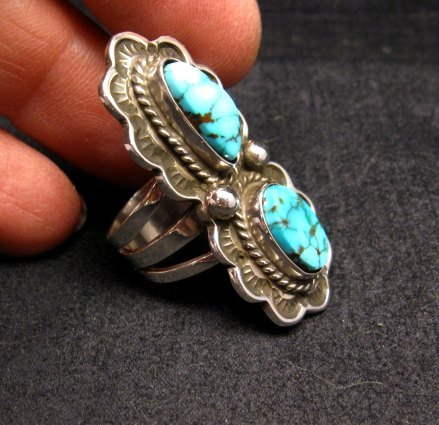 Image 1 of Native American Navajo Double Kingman Turquoise Ring sz6-1/2, D Delgarito