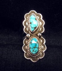 Native American Navajo Double Kingman Turquoise Ring sz6-1/2, D Delgarito