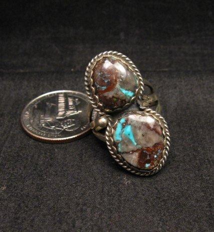 Image 0 of Archie Ganadonegro Navajo Double Bisbee Turquoise Ring sz7-1/2