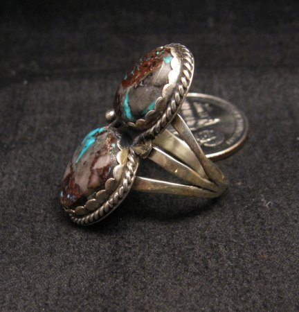 Image 1 of Archie Ganadonegro Navajo Double Bisbee Turquoise Ring sz7-1/2