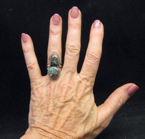 Image 3 of Archie Ganadonegro Navajo Double Bisbee Turquoise Ring sz7-1/2