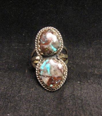 Image 2 of Archie Ganadonegro Navajo Double Bisbee Turquoise Ring sz7-1/2