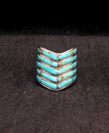 Image 0 of Andrew Enrico ~ Zuni ~ 5-row Turquoise Inlay Chevron Ring sz6-1/2