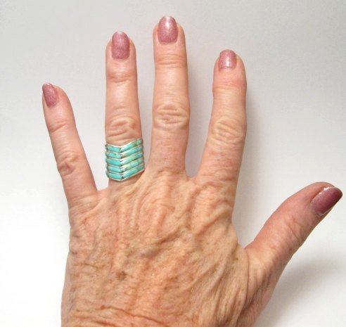 Image 2 of Andrew Enrico ~ Zuni ~ 5-row Turquoise Inlay Chevron Ring sz6-1/2