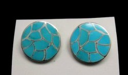 Zuni Turquoise Inlay Round Clip-on Earrings, C Haloo