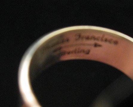 Image 4 of Native American Rhodochrosite Silver Ring sz7-1/2 - Thomas Francisco, Navajo