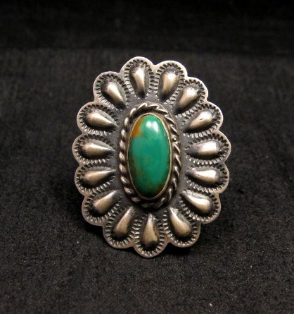 Image 0 of Sterling Silver Repousse & Turquoise Flower Ring sz5-1/2 Robert Johnson - Navajo