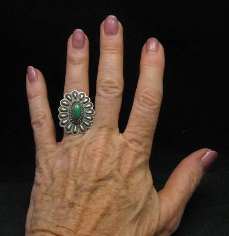 Image 2 of Sterling Silver Repousse & Turquoise Flower Ring sz5-1/2 Robert Johnson - Navajo