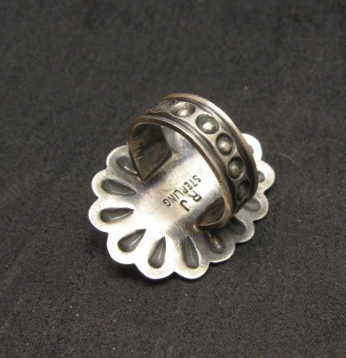 Image 3 of Sterling Silver Repousse & Turquoise Flower Ring sz5-1/2 Robert Johnson - Navajo