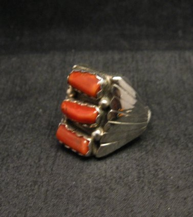 Image 2 of Navajo Native American Triple Coral Silver Ring sz10-1/2, Marlene Martinez