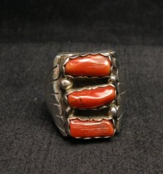 Navajo Native American Triple Coral Silver Ring sz10-1/2, Marlene Martinez