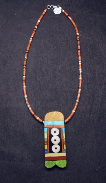 Image 1 of Big Santo Domingo Pueblo Indian Mosaic Inlay Necklace, MARY TAFOYA