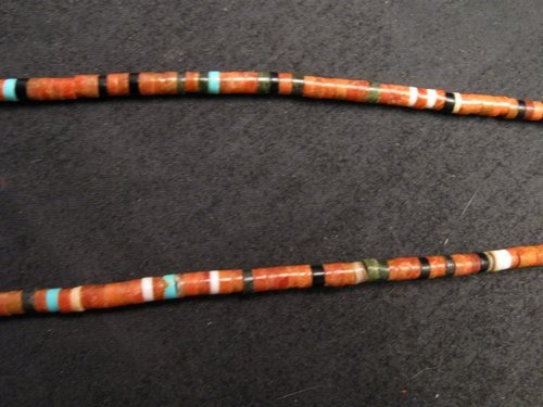 Image 2 of Big Santo Domingo Pueblo Indian Mosaic Inlay Necklace, MARY TAFOYA