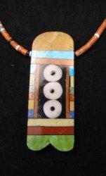 Big Santo Domingo Pueblo Indian Mosaic Inlay Necklace, MARY TAFOYA