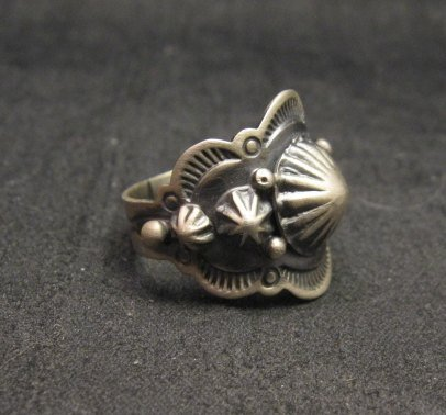 Image 2 of Gene Natan Navajo Old Pawn Style Sterling Silver Ring sz5-3/4