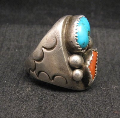 Image 1 of Vintage Pawn Navajo Turquoise & Coral Silver Ring sz10-1/2