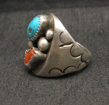 Image 2 of Vintage Pawn Navajo Turquoise & Coral Silver Ring sz10-1/2