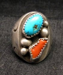 Vintage Pawn Navajo Turquoise & Coral Silver Ring sz10-1/2