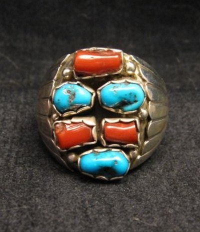 Image 0 of Navajo Native American Turquoise & Coral Sterling Silver Ring sz12 Julia Etsitty