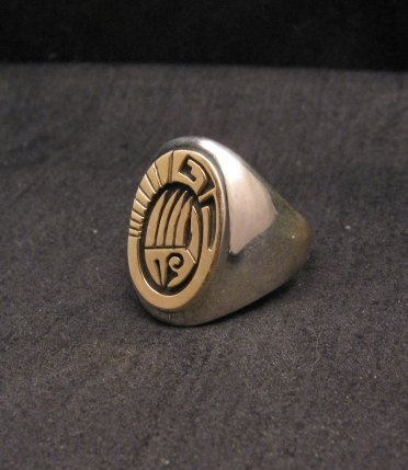 Image 2 of Calvin Peterson 14K Gold Sterling Silver Bear Paw Navajo Ring sz11