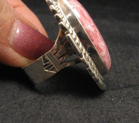 Image 3 of Native American Rhodochrosite Silver Ring sz7-1/2 - Thomas Francisco, Navajo