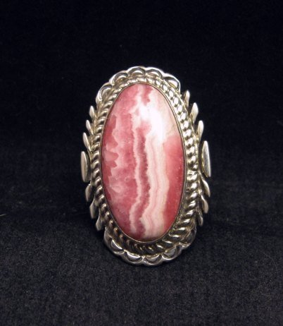 Image 0 of Native American Rhodochrosite Silver Ring sz7-1/2 - Thomas Francisco, Navajo