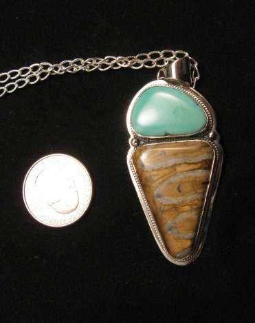 Image 2 of Navajo Mammoth Tooth & Turquoise Pendant Jewelry by Lucy Jake